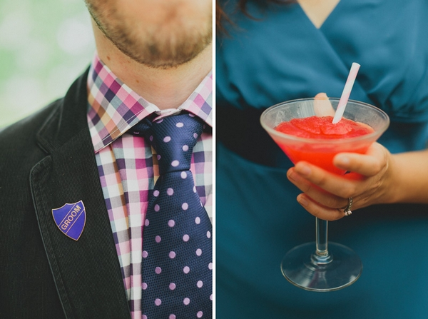 Groom badge and red drink - Picture by Jonas Peterson Photography