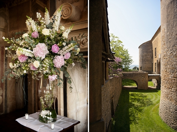 Wedding flowers in tall vase at French chateau - Picture by Gill Maheu Photography