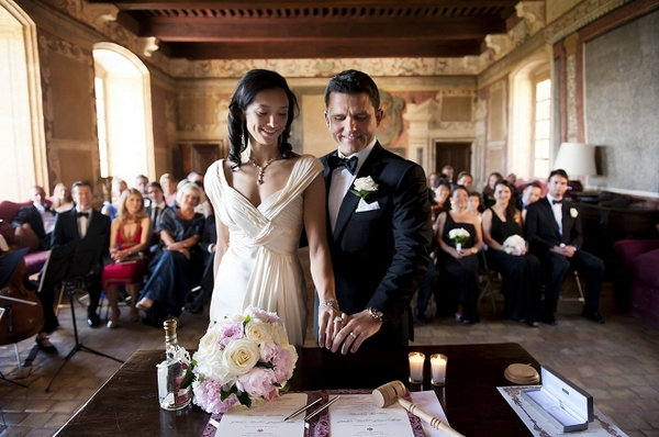 Bride and groom at wedding ceremony - Picture by Gill Maheu Photography