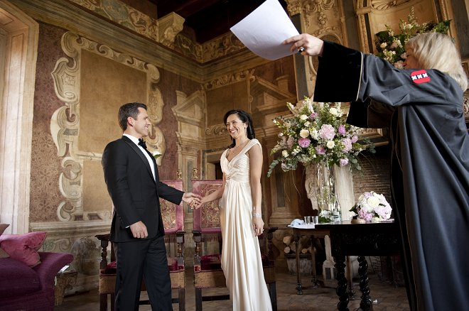 Bride and groom being declared husband and wife - Picture by Gill Maheu Photography