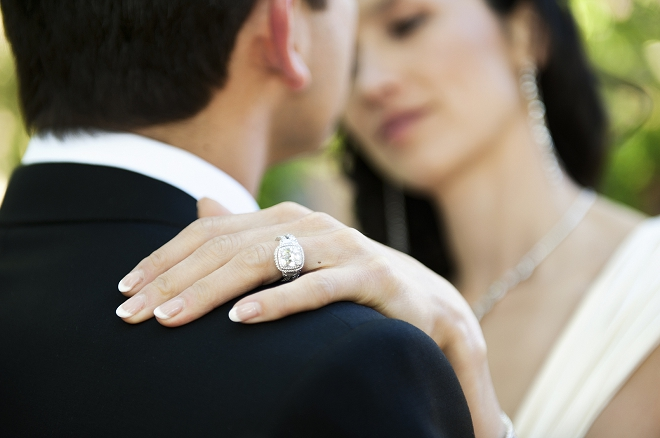 Close up of wedding ring on bride's finger - Picture by Gill Maheu Photography