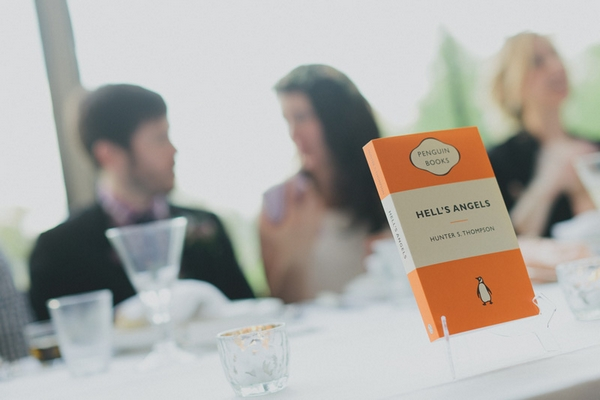 Hells angels book used as wedding table name - Picture by Jonas Peterson Photography