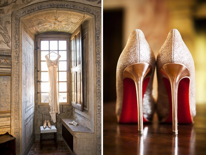 Wedding dress and gold wedding shoes - Picture by Gill Maheu Photography