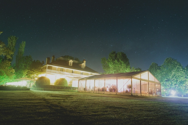 Wedding venue lit up at night - Picture by Jonas Peterson Photography