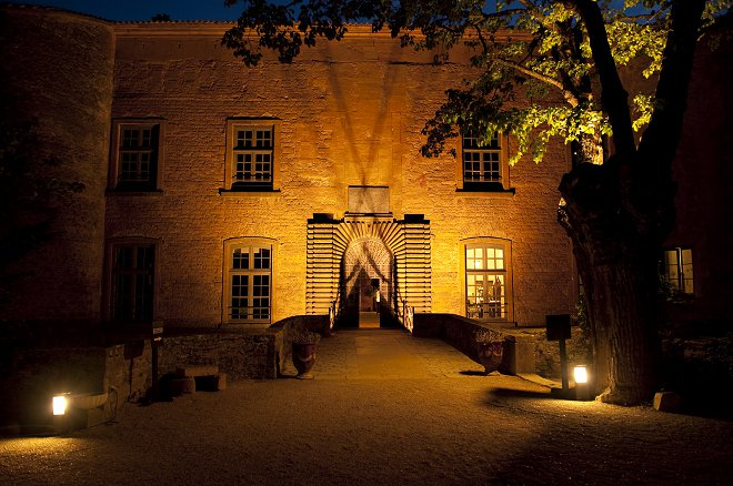 Chateau de Bagnols at night - Picture by Gill Maheu Photography