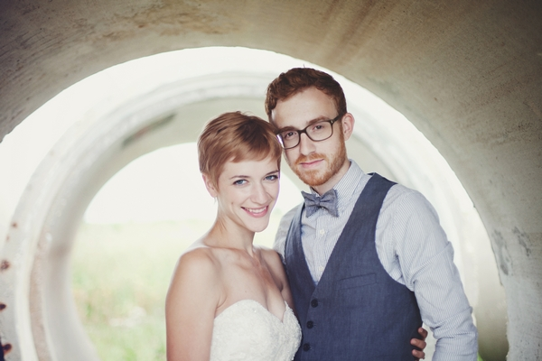 Bride and groom inside a concrete cylinder - Picture by Josh Dookhie Photography