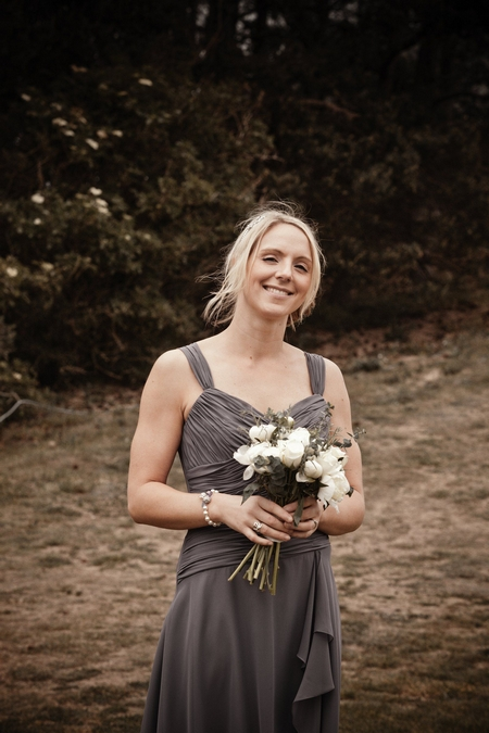 Bridesmaid in charcoal grey dress - Picture by Archibald Photography