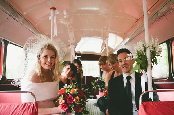 Bridal party in bus - Picture by McKinley-Rodgers Photography