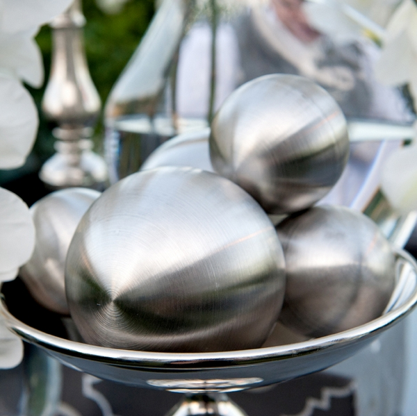 Large silver ball decorations - Picture by Yvette Roman Photography