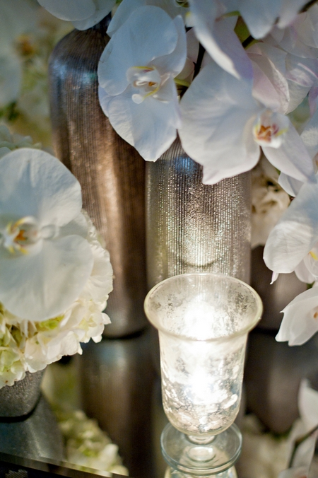 Orchid and tea lights - Picture by Yvette Roman Photography