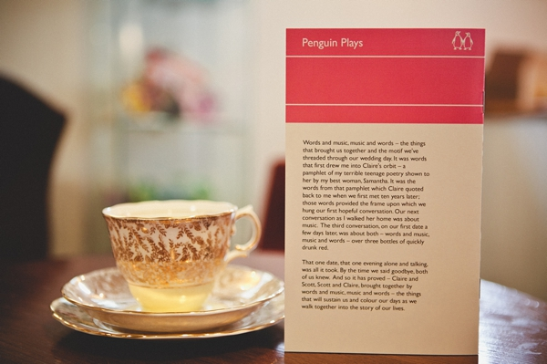 Penguin plays wedding invitation and vintage china cup - Picture by McKinley-Rodgers Photography