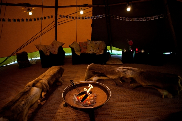 Inside wedding tipi - Picture by Archibald Photography