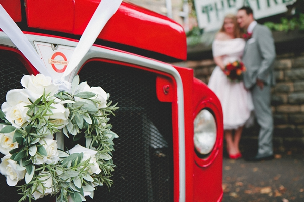 Front of red wedding bus - Picture by McKinley-Rodgers Photography