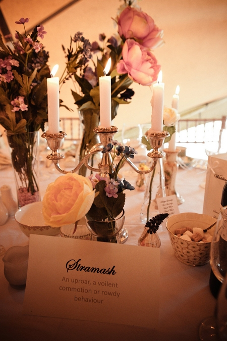 Wedding table name and vintage cndlestick - Picture by Archibald Photography