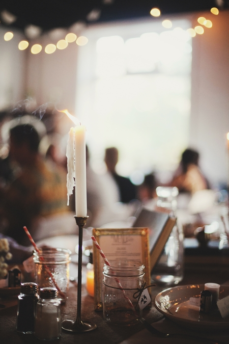 Candle and jar wedding table decoration - Picture by Josh Dookhie Photography