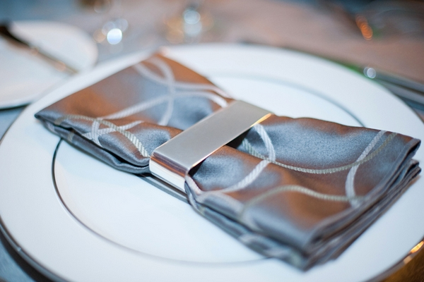 Grey table napkin - Picture by Yvette Roman Photography