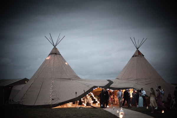 Wedding tipis at night - Picture by Archibald Photography