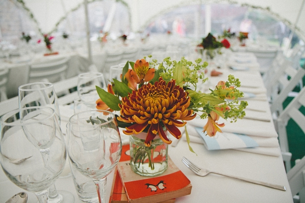 Flowers on wedding table - Picture by McKinley-Rodgers Photography