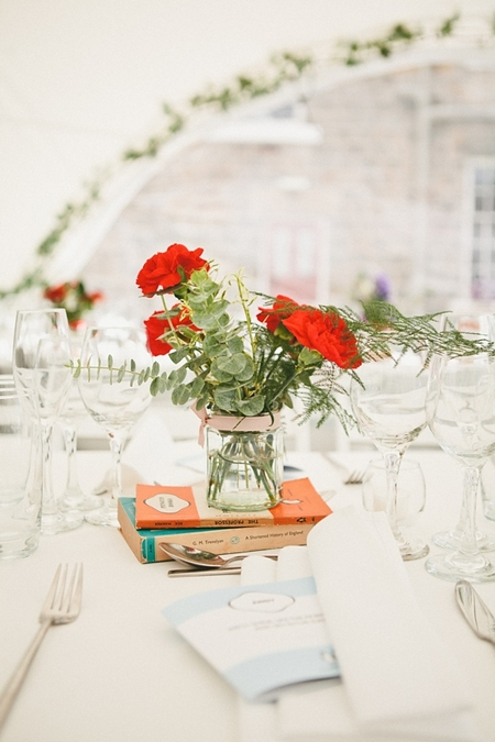 Jam jar of wedding flowers - Picture by McKinley-Rodgers Photography