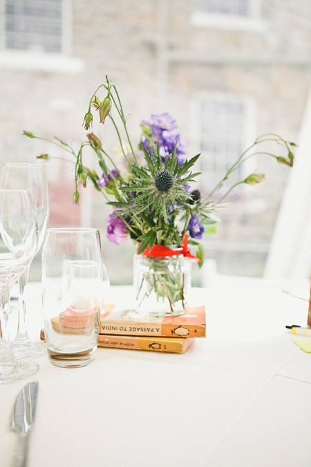 Jam jar of wild wedding flowers - Picture by McKinley-Rodgers Photography
