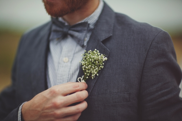 Buttonhole of gypsophila - Picture by Josh Dookhie Photography