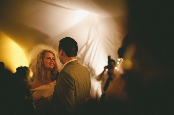 Bride and groom looking at each other on dance floor - Picture by McKinley-Rodgers Photography