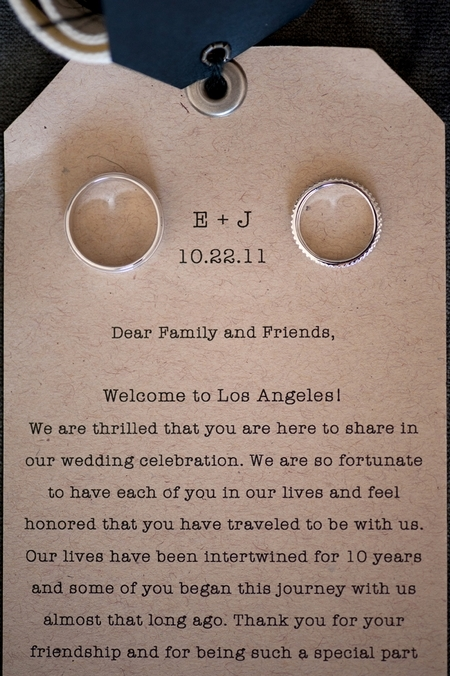Wedding rings on welcome note - Picture by Yvette Roman Photography