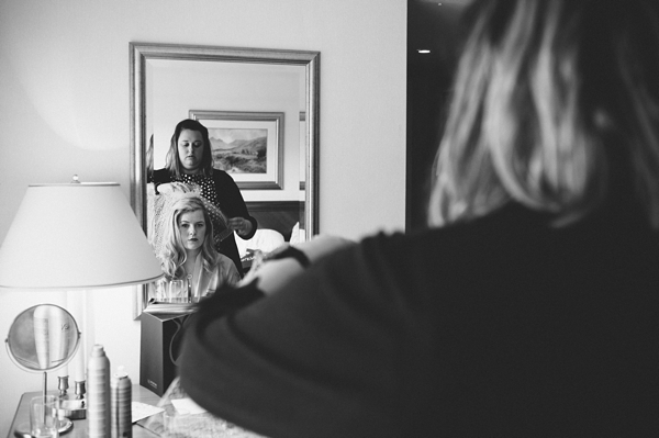 Hair stylist styling bride's hair - Picture by McKinley-Rodgers Photography