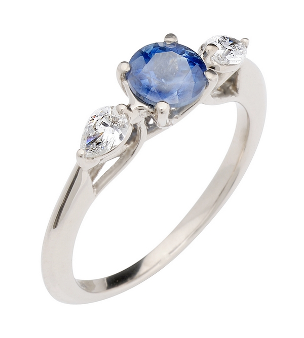 Sapphire and Pear Diamond Trilogy Ethical Engagement Ring from CRED Jewellery