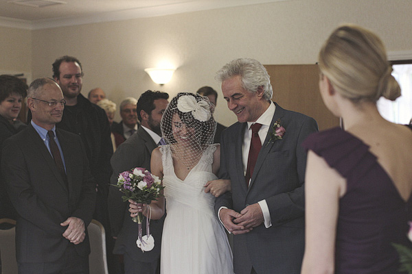 Bride walking into wedding ceremony with father - Picture by York Place Studios