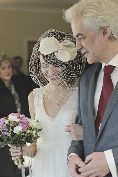 Bride holding father's arm - Picture by York Place Studios