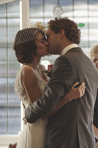 Bride and groom kissing - Picture by York Place Studios