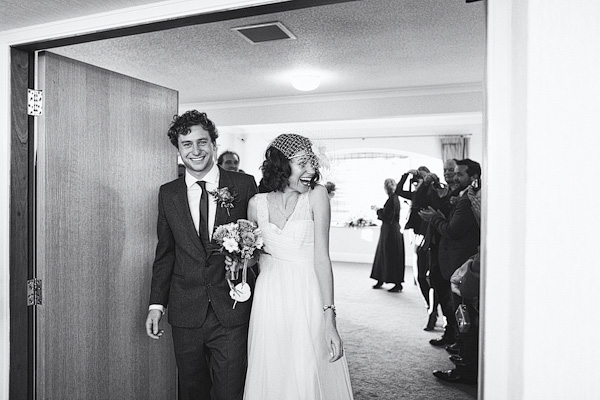 Bride and groom leaving wedding ceremony - Picture by York Place Studios
