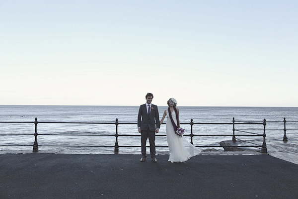 Bride and groom by the sea in Scarborough - Picture by York Place Studios