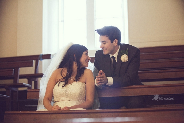 Bride and groom in town hall wedding - Picture by Mirrorbox Photography
