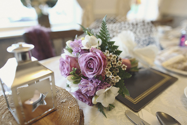 Purple rose wedding bouquet - Picture by York Place Studios