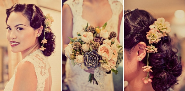 Vintage bride with flowers in her hair - Picture by Paco and Betty