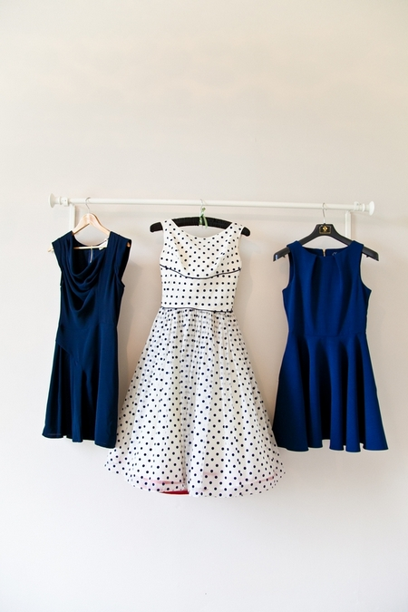 Blue bridesmaid dresses and blue polka dot wedding dress - Picture by Anneli Marinovich Photography