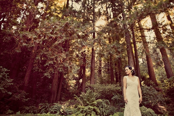 Bride in woods of Santa Cruz Mountains - Picture by Paco and Betty