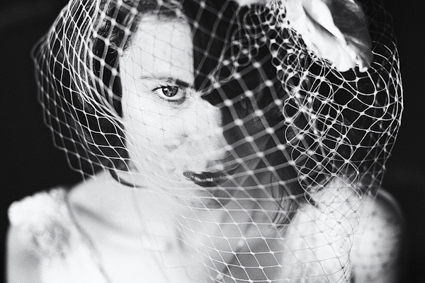 Black and white picture of bride wearing veil - Picture by York Place Studios