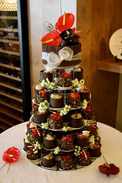 Dark Chocolate Wrapped Gateaux Tower Wedding Cake from Le Paillon Patisserie