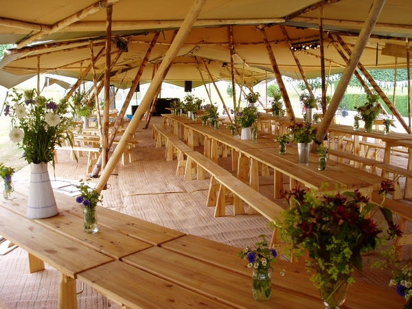 PapaKåta Tent Interior with Tables