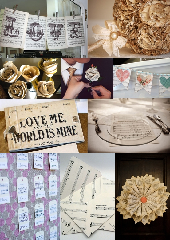 Sheet Music Wedding Ideas Mood Board