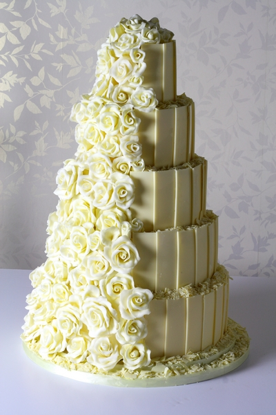 White Chocolate Rose Cascade Wedding Cake from Le Paillon Patisserie