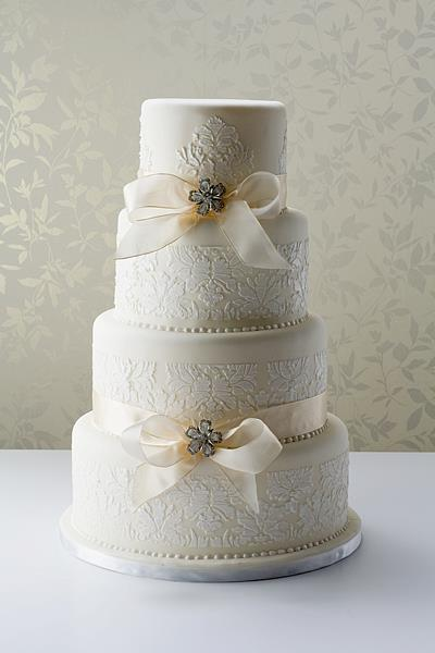 White Damask Wedding Cake from Le Paillon Patisserie