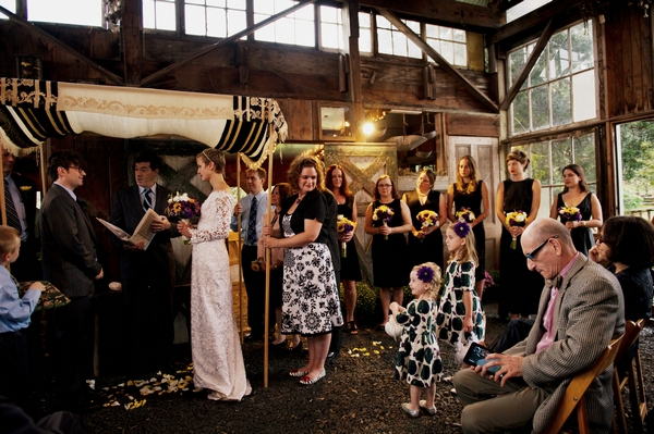 Wedding ceremony in barn - Picture by Judy Pak Photography