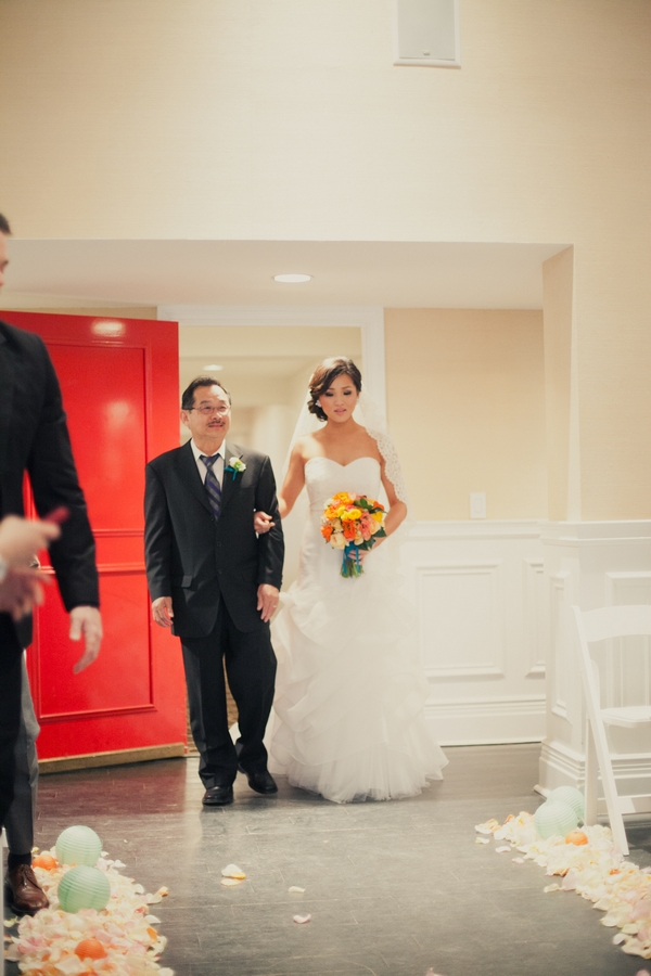 Father leading bride into wedding ceremony - Picture by onelove photography