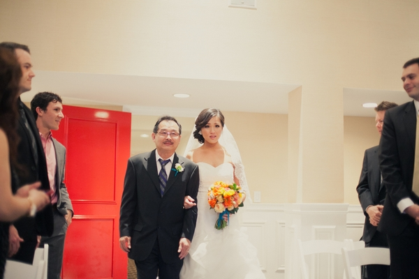Father and bride walking into wedding ceremony - Picture by onelove photography