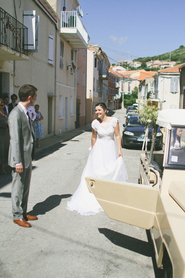 Bride walking to wedding car outside Cargese Town Hall - Picture by DanielRM