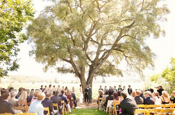 Outdoor wedding ceremony - Picture by Kate Harrison Photography
